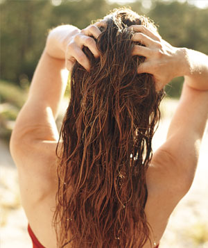 Model with long wet hair