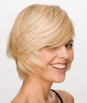 Smiling blonde model with short bob haircut