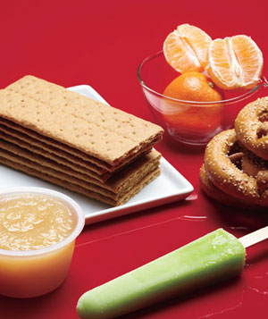 Graham crackers, clementines, pretzels, fruit pop, unsweetened apple sauce