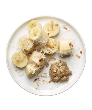 1 banana with 2 teaspoons almond butter plus 1 tablespoon toasted shredded coconut