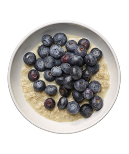 1 packet plain instant oatmeal (made with water) plus ½ cup blueberries