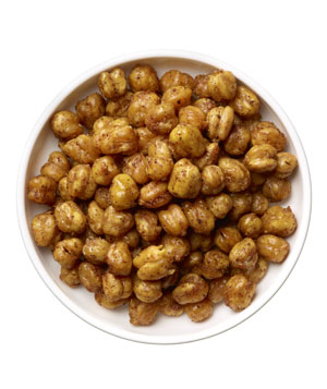Roasted chickpeas (¼ cup tossed with 1 teaspoon olive oil, cumin, and chili; roasted at 375º F for 35 to 40 minutes)