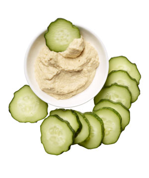 Cucumber with hummus