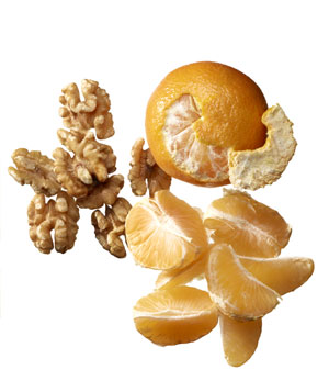 2 clementines and 7 walnut halves
