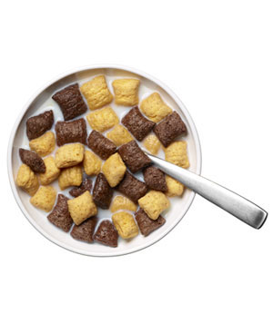 Barbara's Puffins Peanut Butter & Chocolate (¾ cup) with ½ cup nonfat milk