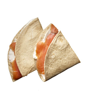 La Tortilla Factory High Fiber Low Carb tortilla (6.5-inch) wrapped with smoked salmon (1 ounce) and low-fat cream cheese (1 tablespoon)