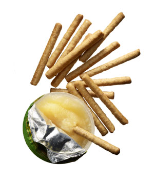 14 Wheat Thins Cinnamon Kick Crunch Stix with one 3.9-ounce cup Mott's Healthy Harvest Granny Smith applesauce