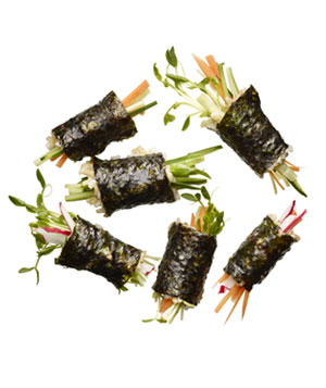 Half a package Annie Chun's Sprouted Brown Rice Sushi Wraps with ¼ cup slivered vegetables
