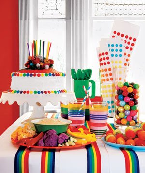 Childrenu0027s party spread with rainbow colored food and treat assortment  sc 1 st  Real Simple & Kidsu0027 Birthday Party Ideas - Real Simple