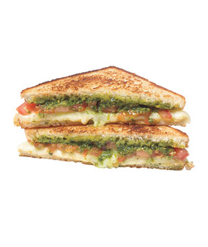 Pesto and Tomato Grilled Cheese