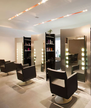 Interior of empty hair salon