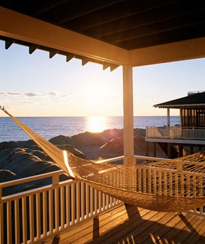 Hammock on porch of beach house