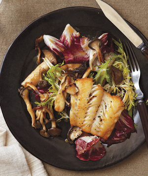 Haddock With Warm Frisée and Mushroom Salad