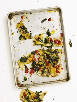 Kale and Cheddar Flat Bread