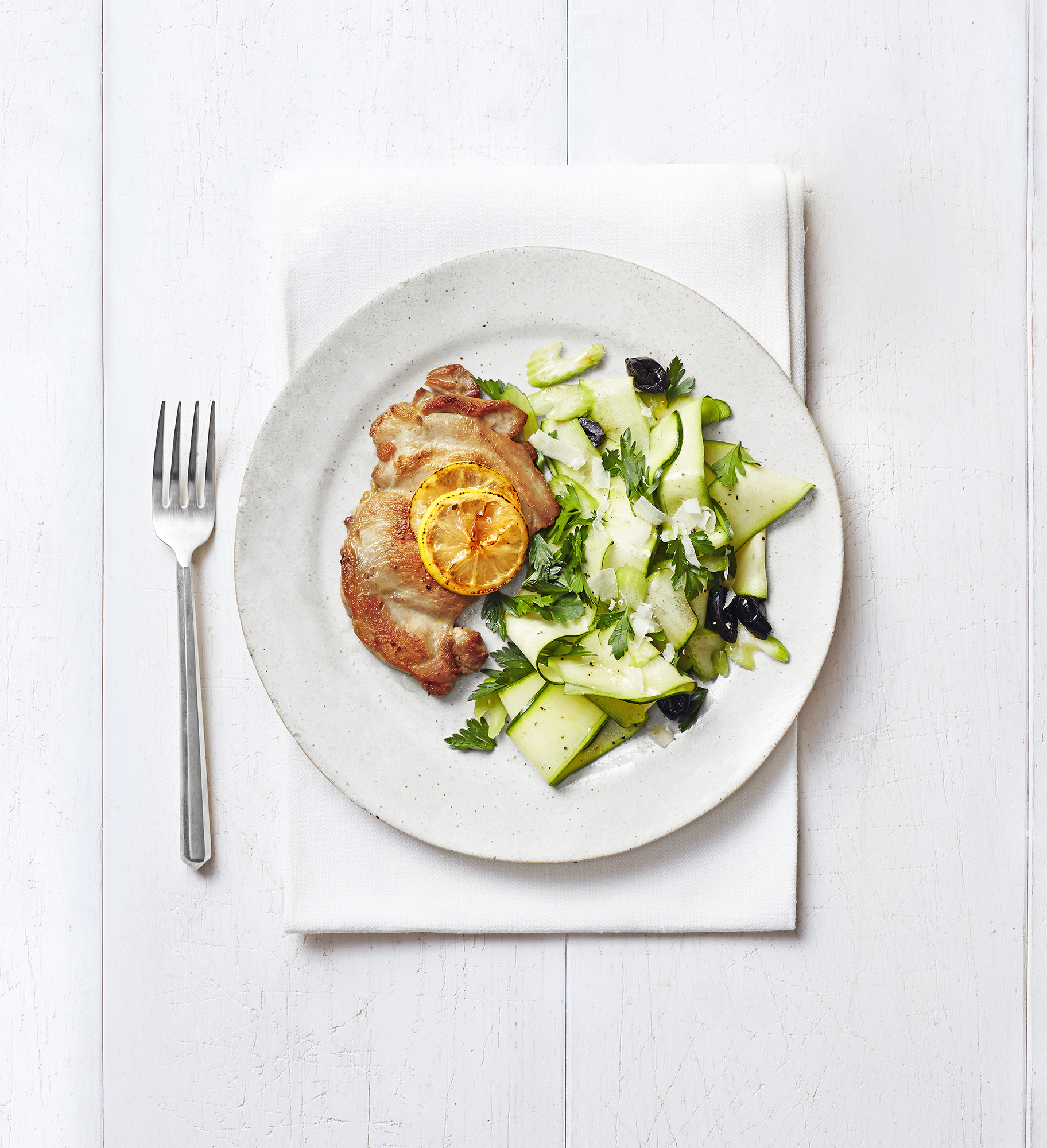 Chicken Thigh Cutlets with Zucchini, Celery, and Olive Salad