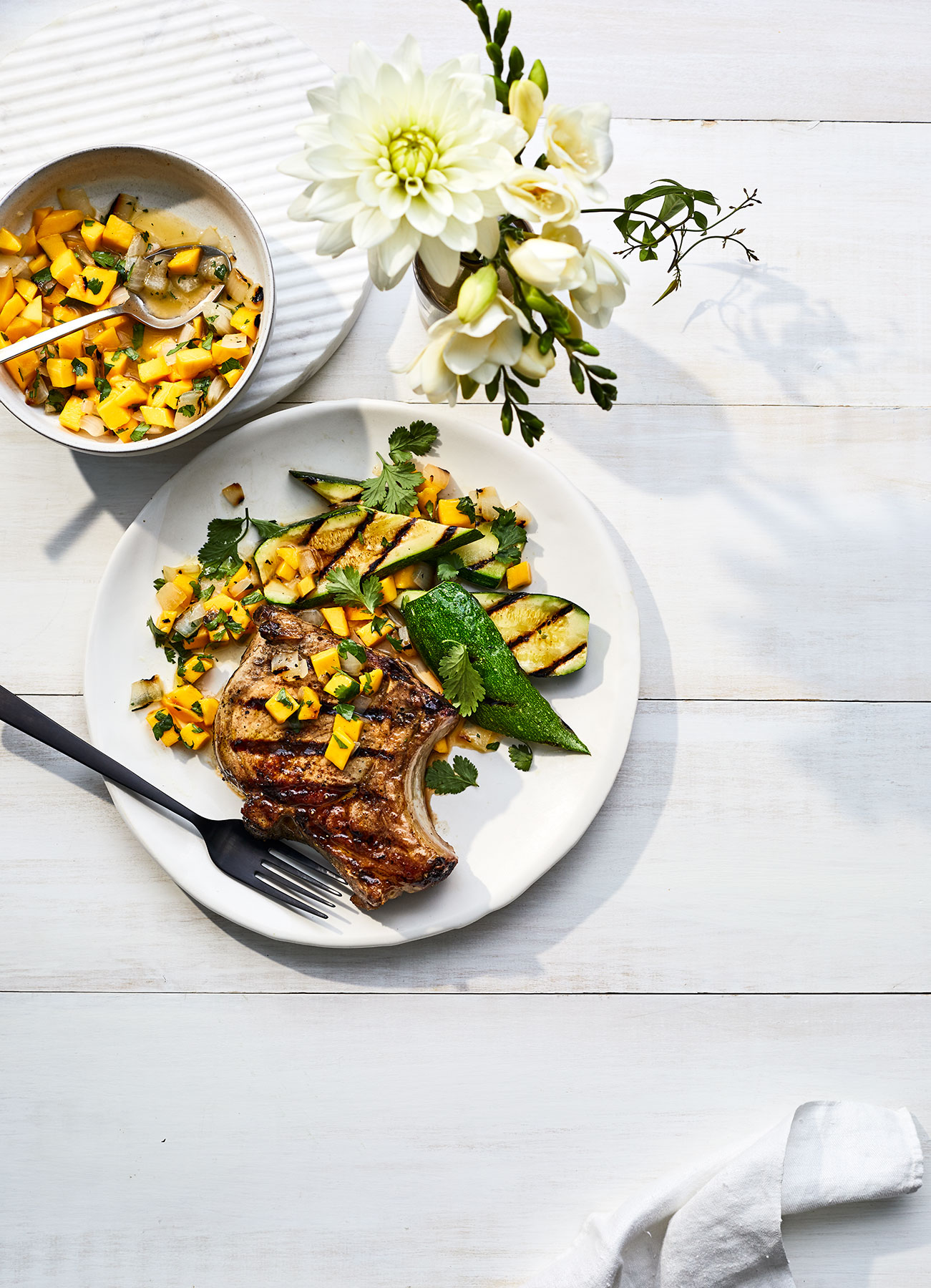 Grilled Pork Chops and Zucchini With Mango Salsa