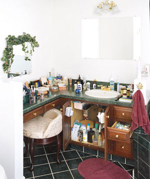 Cluttered bathroom vanity