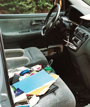 Cluttered car interior