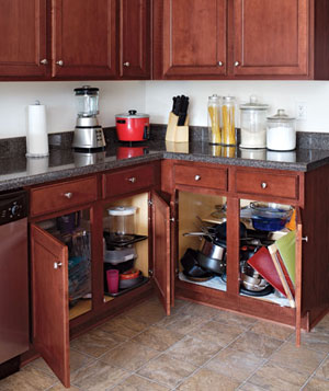 Cluttered kitchen cabinets