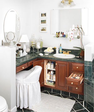 Organized bathroom vanity