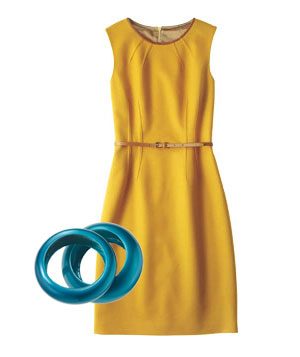 Yellow wool dress and  chunky teal bangles
