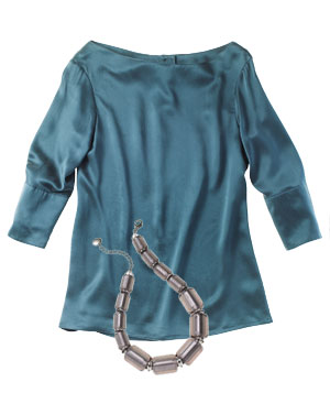 Teal acetate blouse, chunky grey glass necklace