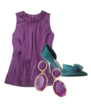 Purple silk blouse, teal heels and purple stone earrings