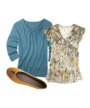Patterned, ruffled blouse, teal sweater and yellow suede flats