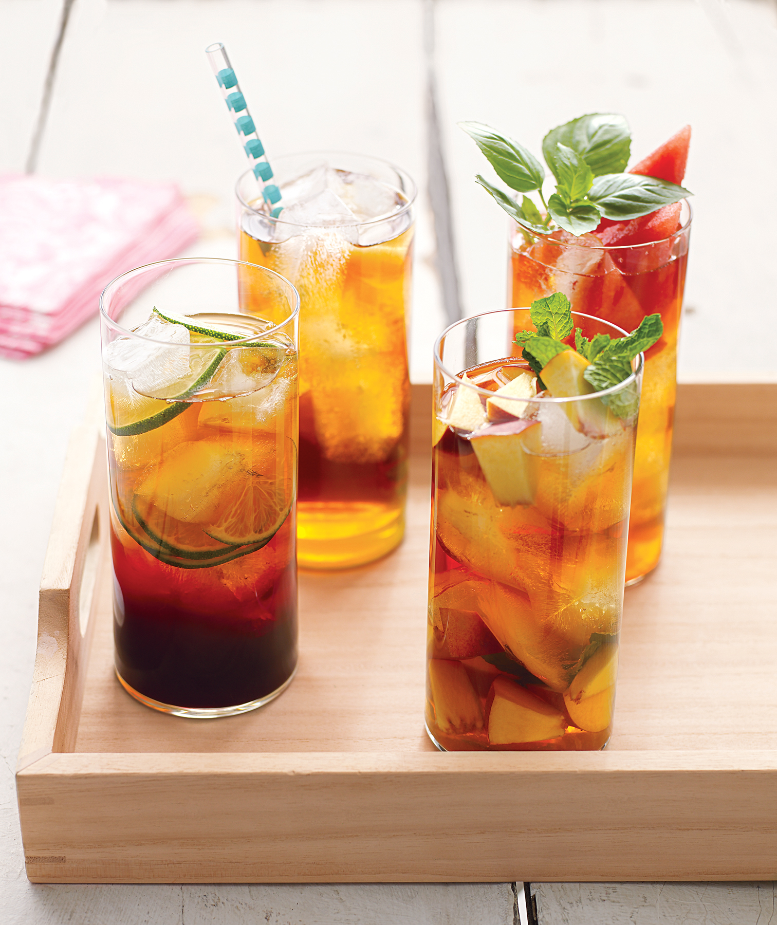 Four homemade iced teas