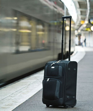 An abandoned suitcase on a platform