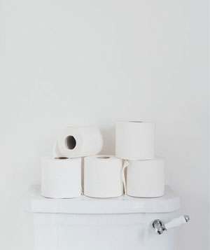 Rolls of toilet paper on back of toilet