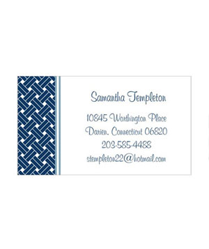 Shutterfly Navy Weave Calling Card