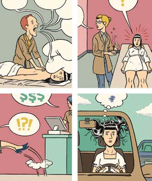 4 illustration blocks of bad salon experiences