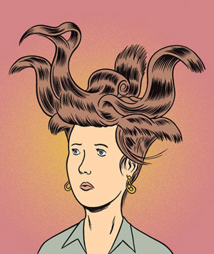 Illustration of woman with wild hairdo looking perplexed