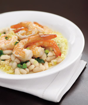 Lemony Shrimp With White Beans and Couscous