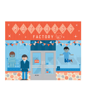 Illustration of man standing outside a store with sign reading Mattress Factory