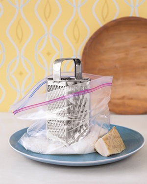 Cheese grater in a plastic bag
