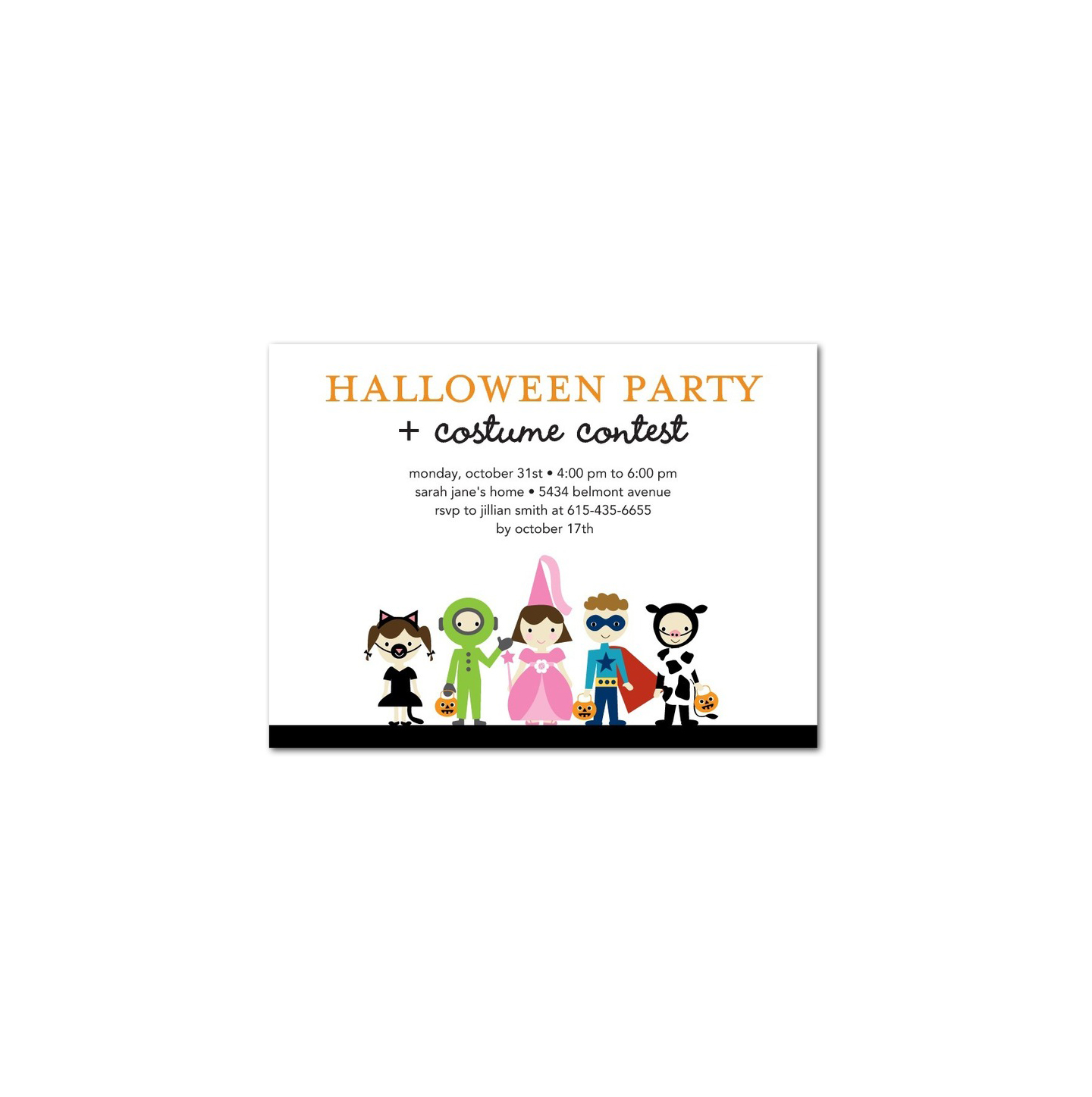 Costume Fun Halloween Party Invitations