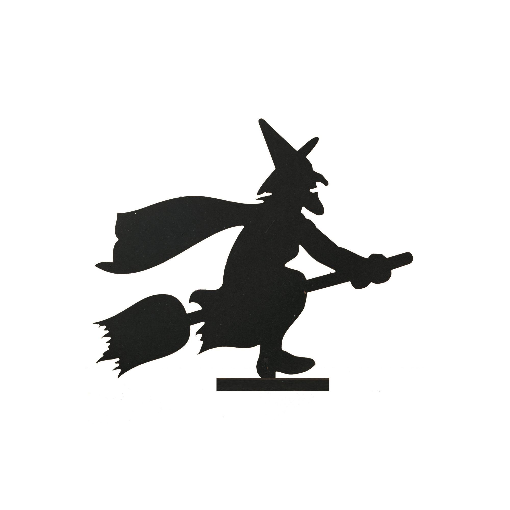 Wood Witch Riding Broom Silhouette (Set of 2)