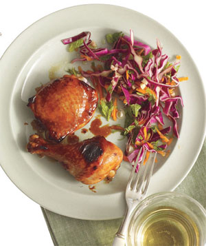 Lime and Soy–Glazed Chicken With Cabbage Slaw