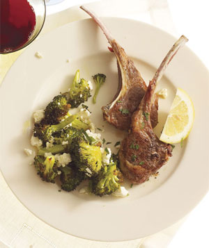 Lamb Chops With Roasted Broccoli and Feta