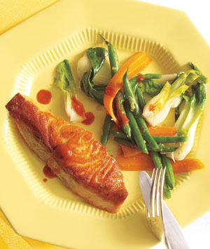 Salmon With Gingery Green Beans and Bok Choy