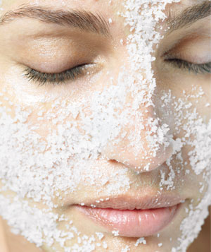 Model with large salt crystals on face