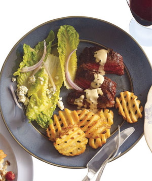 Steak With Cognac Sauce and Salad