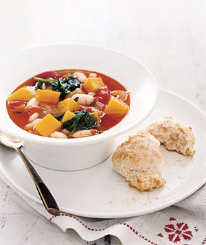 Squash and Bean Soup With Parmesan Biscuits