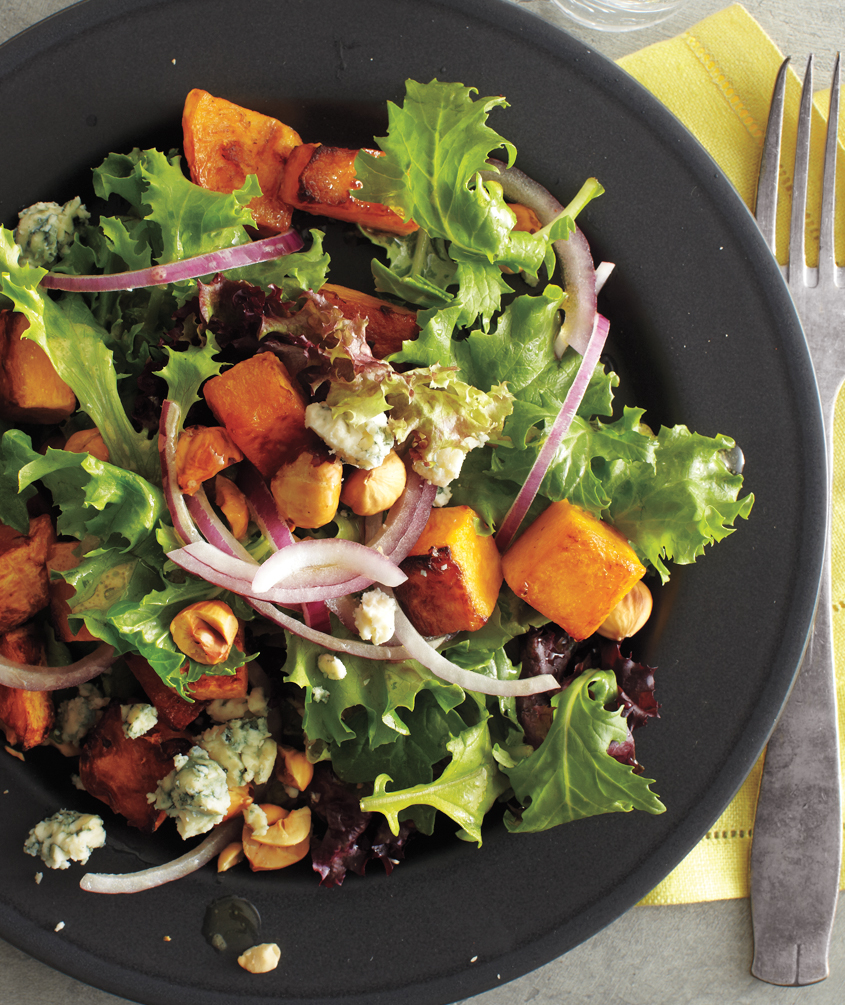 Butternut Squash Salad With Hazelnuts and Blue Cheese