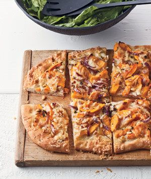 Butternut Squash Flat Bread With Cheddar and Pine Nuts