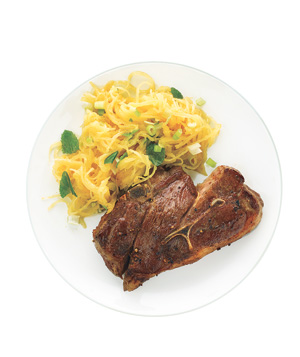 Seared Lamb Chops With Minted Spaghetti Squash