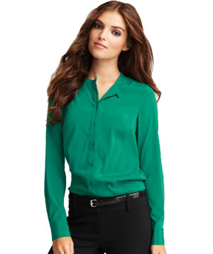 Ann Taylor Kissing Placket Silk Long Sleeve Shirt