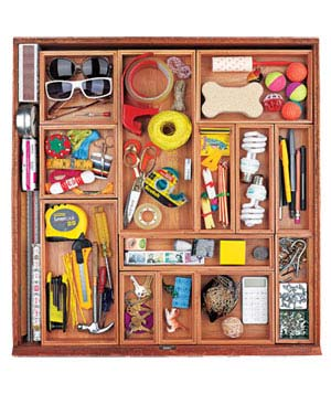 Organized junk drawer